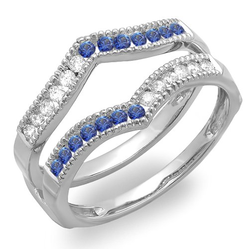 10K White Gold White Diamond & Blue Sapphire Ladies Millgrain Anniversary Wedding Guard Ring (Size - Guard Bridal Ring Sapphire