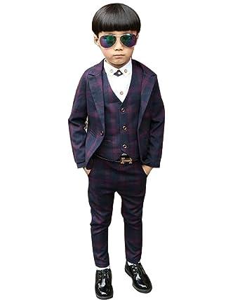 04bd9642a95b0 Iypurkmn フォーマル スーツ 男の子 チェック柄 子供用 結婚式 発表会 ジャケット ベスト ズボン 3