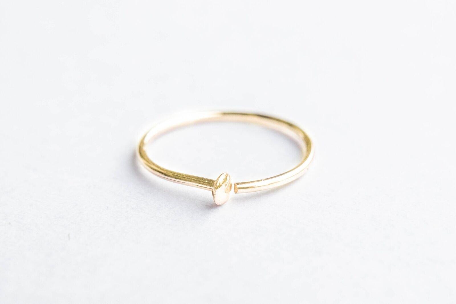 Gold Nail Nose Ring - 24 Gauge 7-9 mm