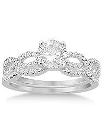 Infinity Twisted Diamond Ring Matching Bridal Set in Palladium (0.34ct)