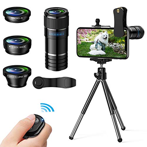 Phone Camera Lens, 4 in 1 Cell Phone Lens kit, 12x Telephoto Lens + 0.65x Wide Angle Lens + Macro Lens + Fisheye Lens,Clip-On Lenses for iPhone Android Smartphone with Tripod+Shutter Remote (Fish Eye Lense Iphone 5)