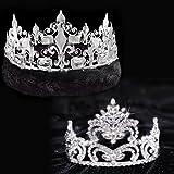 Nobility Coronation Set, 3 5/8 inch High Penelope Tiara and Silver Fleur-de-Lis Crown with Black Fur