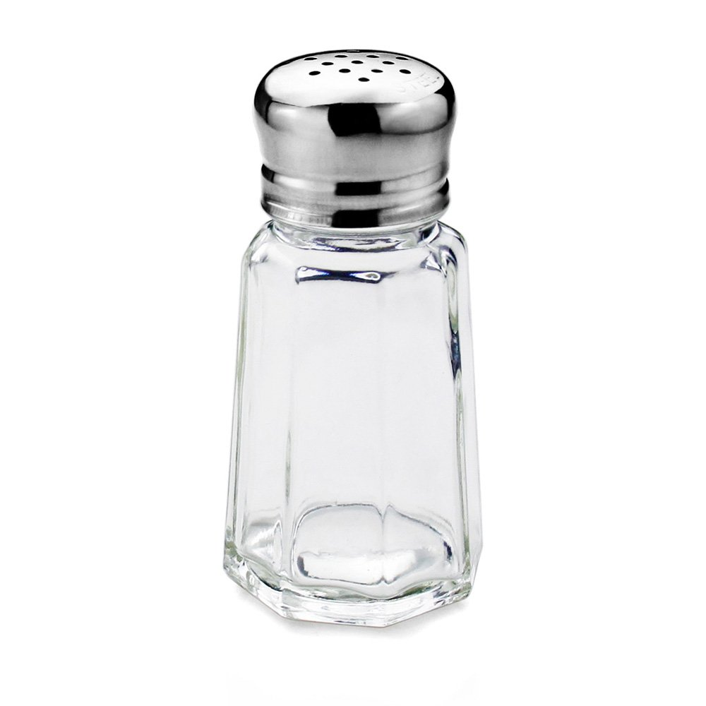New Star Foodservice 22285 Glass Salt and Pepper Shaker with Stainless Steel Mushroom Top, 1-Ounce, Set of 24