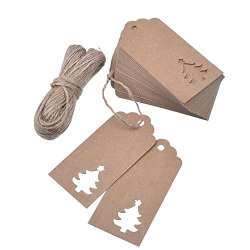 Outus 100 Pieces Kraft Paper Gift Tags Hollow Christmas Tree Design with 66 Feet Twines for Wedding Favor...