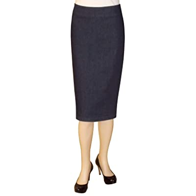 Baby'O Women's Basic Below The Knee Stretch Denim Pencil Skirt at Women's Clothing store