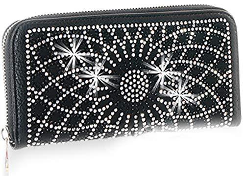 Zzfab Sparkle Wallet Matching Starburst Rhinestone Wallet for Sparkle Purse Black