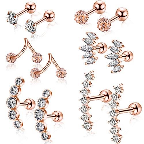 6 Pairs Ear Cartilage Earrings Helix Earrings Ear Piercing Jewelry Stainless Steel Ear Studs for Women Girls Gifts Makeup Favors (Color 2)