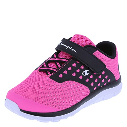 Champion Girls' Pink Black Heart Mesh Girls' Toddler Strap Gusto Cross Trainer 10.5 Wide (Childrens Girls Trainers)