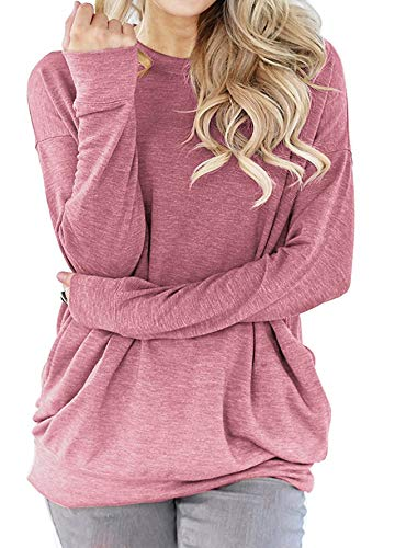 (lymanchi Women Tunic Sweatshirt Pocket Baggy Round Neck Pullover Long Sleeve Shirt Top Dark Pink)