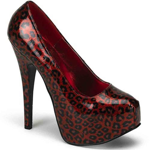 Bordello De Pleaser Mujeres Teeze-37 Pump Red Cheetah Pat