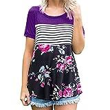 FRC0LT Summer Clearance! Women Floral Striped Print Short Sleeve T-Shirt Tunic Tops