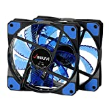 Extra Blue 2 Pack LED Case Fan Lights Up Your Computer With Extra Cool Look. Reinforced Hydraulic Bearing with 120mm DC 15 LED Illuminating Cooling for PC. Quiet, Durable, Enhances Performance of CPU