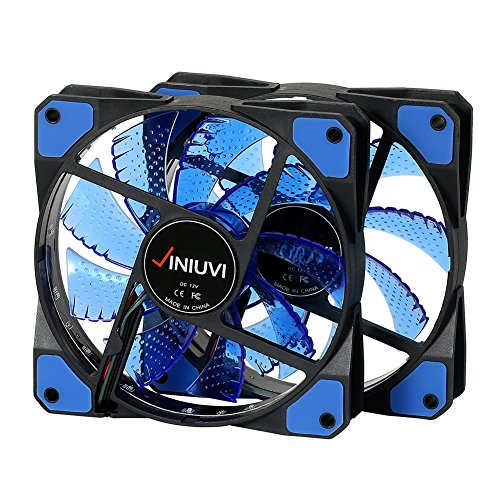 2 Pack Blue 120mm Case Fan Cooling PC and Light Up Computer Case with Cool Look, Long Life Bearing with DC 15 LED Illuminating PC Case. Quiet Durable Fans Enhance Performance of Tower by VINIUVI (Image #1)