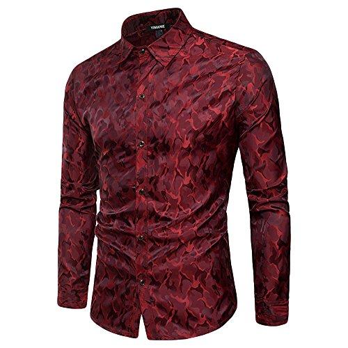 YIMANIE Mens Regular Fit Long Sleeve Shiny Satin Silk Like Dance Prom Dress Shirt ()