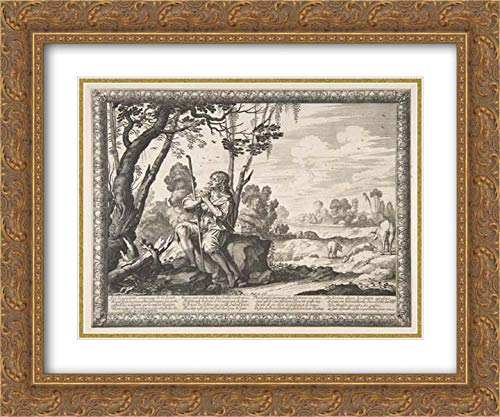 Abraham Bosse - 36x28 Gold Ornate Frame and Double Matted Museum Art Print - The Prodigal Son Guarding Pigs (L'Enfant prodigue Garde les cochons)