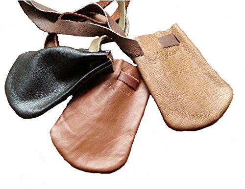 Dice Bag Leather (Leather Pouches Coin Dice Bags Three (3) MIXED BROWN- Made in USA)