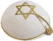 JL Kippha's Knitted 17cm White Gold Magen David Kippah Jewish Kipa Yarmulke Synag