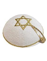 JL Kippha's Knitted 17cm White Gold Magen David Kippah Jewish Kipa Yarmulke Synagogue