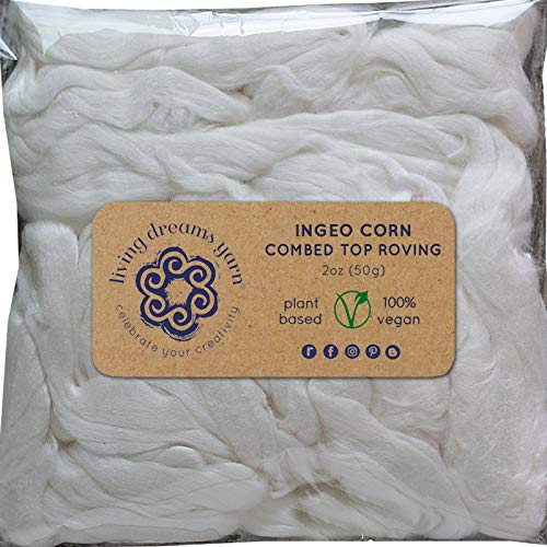 Fiber Ingeo - Ingeo Corn Fiber for Spinning Blending Dyeing. Super Soft Silky Vegan Combed Top