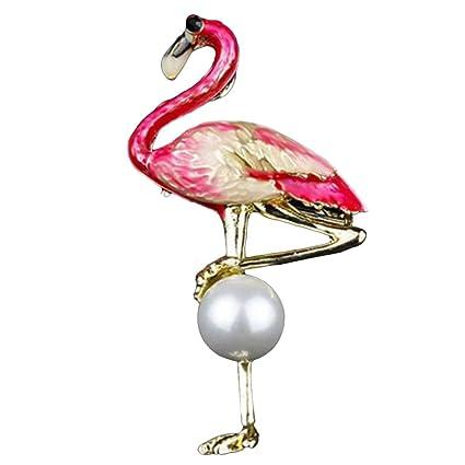 Kanggest Broche para Mujer Creativa Moda Perla Rojo Flamenco Broche Pin Elegante Broches para Ropa Bufanda