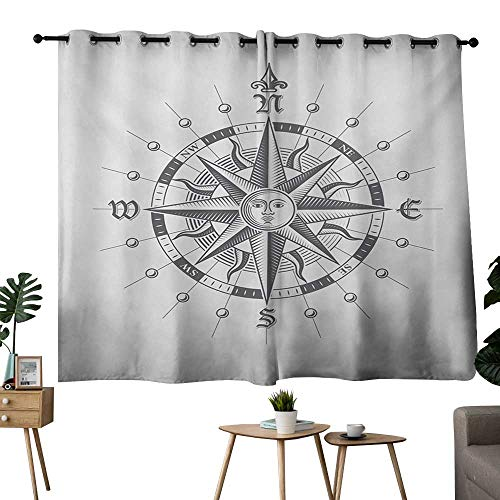 (NUOMANAN Light Blocking Curtains Compass,Hand Drawn Compass with The Face of The Sun on Directions North South East West Sailing,Grey,Darkening Grommet Window Curtain-Set of 2 42