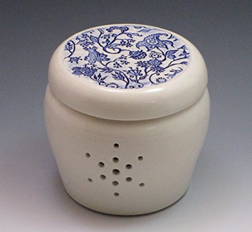 Porcelain Garlic Jar, handthrown with inlaid blue floral paisley design