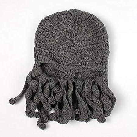 BEESCLOVER Funny Tentacle Octopus Beanie Knit Beard Hat Fisher Cap Wind Ski Mask Black Black