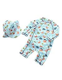 Happy Cherry Toddler Baby Boys Swimsuit One Piece UPF 50+ Printed Swimwear Sunsuit