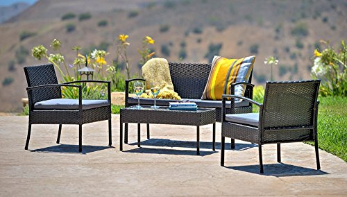 The-Hom Teaset 4 Piece All-Weather Patio Conversation Set in Dark Gray
