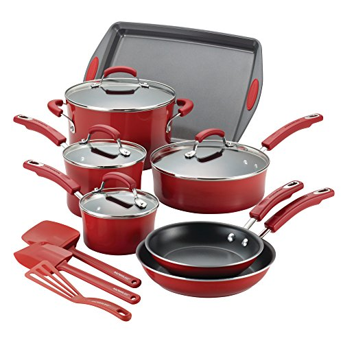 Rachael Ray Hard Porcelain Enamel Nonstick Cookware Set, 14-