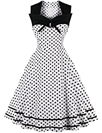 women s cocktail dresses amazon 1920s Flapper Hair women s polka dot retro vintage style cocktail party swing dresses red