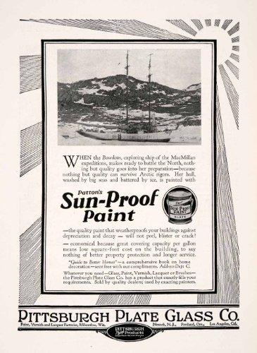 1927 Ad Pittsburgh Plate Glass Sunproof Paint Patton Boat Slate Newark Milwaukee - Original Print - Milwaukee Glasses
