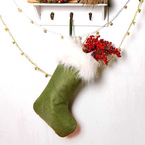 ITOMTE Swedish Elegant Christmas Stockings - Home Christmas Decorations Gift/Treat Bags, Green - 18.5 Inches -