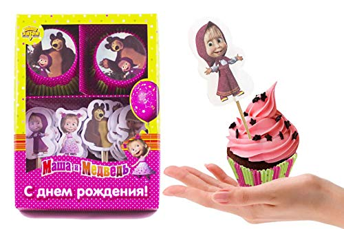 Set of Bright Printed Backing Cups 24 pcs and 24 Picks Topper Food Decoration Masha and the Bear for Cakes Cupcakes Muffins Must Have Accessories for the Party and Birthday Masha y el Oso para niños by Masha and the Bear (Image #3)