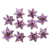 ADSRO 10Pcs Glitter Hollow Wedding Party Decor Christmas Artificial Fabric Simulation Flower Xmas Tree Decorations (Purple)