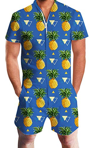 Mens Short Sleeve Jumpsuit Blue Overall with Pineapple and Triangle Printed Grandad Playsuit Novelty Shorts Cargo Pants One Piece Outfits Boyfriend Jumpsuit Durable Zip with -