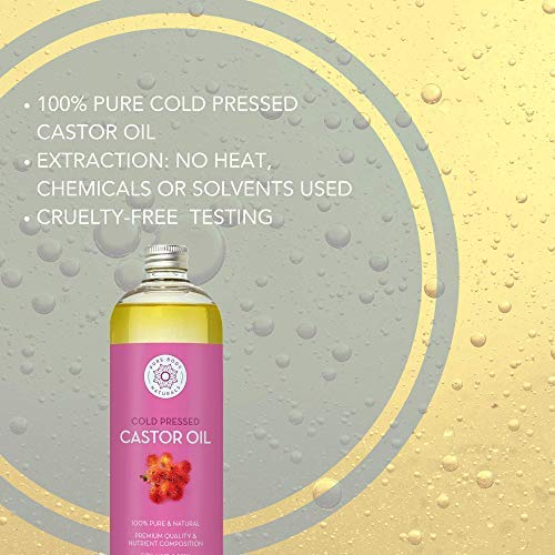 Castor Oil for Hair Growth, Eyelashes, Scar Removal and Stretch Mark  Prevention - Cold-Pressed, 100% Pure, Hexane-Free Caster Oil by Pure Body