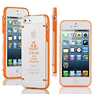 Apple iPhone 5 5s Ultra Thin Transparent Clear Hard TPU Case Cover Keep Calm and Love Pandas (Orange)