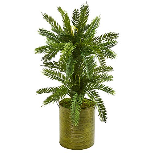 Cycas Plant - Nearly Natural 9201 2.5-Ft. Double Cycas Artificial Metal Planter Silk Plants Green