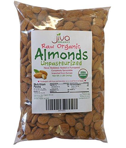 Jiva Organics Raw Unpasteurized Organic Almonds (Sproutable) 2 Pound Bag by Jiva Organics (Image #1)