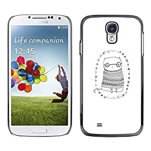 [Neutron-Star] Snap-on Series Teléfono Carcasa Funda Case Caso para Samsung Galaxy S4 [Gato Gafas minimalista Dibujo Gafas lindas]