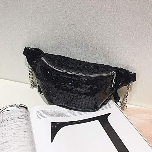 Fashion Bags for Women Paillette Waist Bag Waist Pack Chest Pack Shoulder Crossbody Bags Women Fanny Pack Phone Purse Black