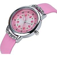 Girls Watches,Flowers Diamond Wrist Watch PU Leather Band Analog Quartz Cute Waterproof Watches for Kids Girls (Pink)