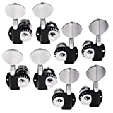 2sets of 4L4R Black/chrome Machine Heads Tuning Pegs for Jazz P Bass Guitar R...