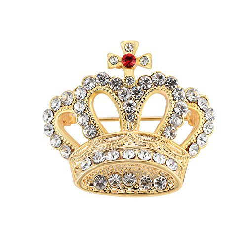 SJ SHI JUN Gold Princess Crown Crystal Brooch Pin (gold)