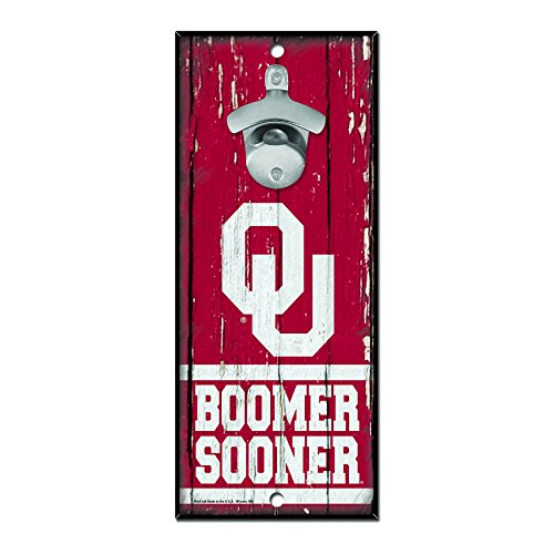 WinCraft NCAA Oklahoma Sooners Wood Bottle Opener Sign, 5