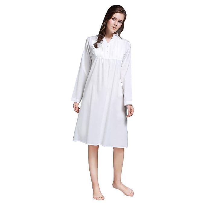 Dorekim mujeres blanco camisón de manga larga 100% algodón pijamas vestido de noche DK3699 (