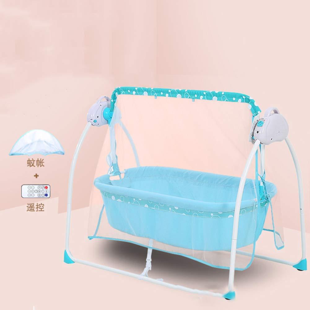 QT& YY Elektrische babybett, Automatische Multi-funktions-Shaker babybett tragbar mit Musik Wiege-Blau