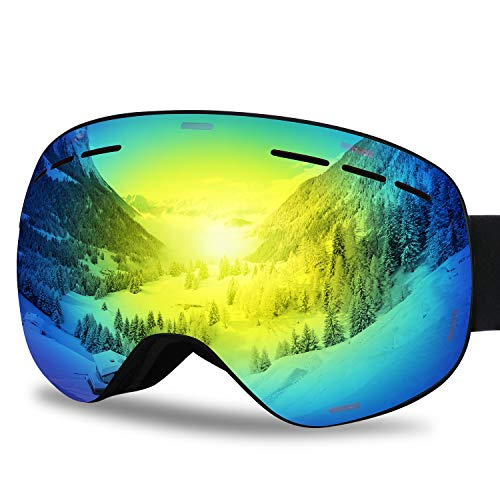 G4Free Ski Snowboard Goggles Over Glasses for Men Women-Magnetic Lens System Anti-Fog Frameless Spherical Design UV Protection Snow - Shape Ski Snow