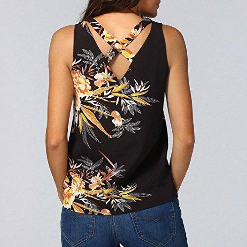 Noir Tops Col Gilet Vest V Et T Impression Femme Chic Sexy Shirt Chemisier Sexyville sans Dbardeur Manche qaAnIwx6nE